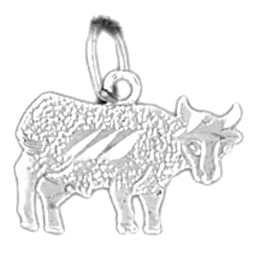 13 mm 14K White Gold Cow Pendant Jewels Obsession Cow Pendant