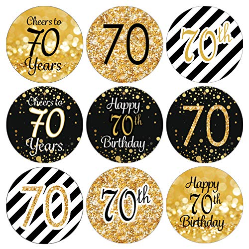 DISTINCTIVS Black and Gold 70th Birthday Party Favor Labels | 216 - Sticker Birthday Party