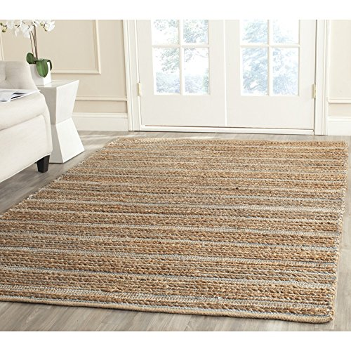 Safavieh Cape Cod Collection CAP851B Hand Woven Blue Jute and Cotton Area Rug 5 x 8