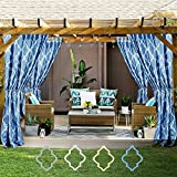 gazebo curtains Moroccan Tile Printed Outdoor Curtains for Porch Blue Quatrefoil Printed Water-repellent Tab Top Geometry Lattice Canvas Curtain Panels for Gazebo, One Panel, 54