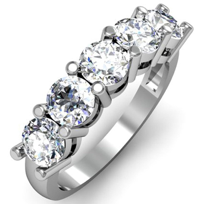 1.00 Carat (ctw) 10K White Gold Round White Diamond 5 Stone Bridal Wedding Band Anniversary Ring 1 CT