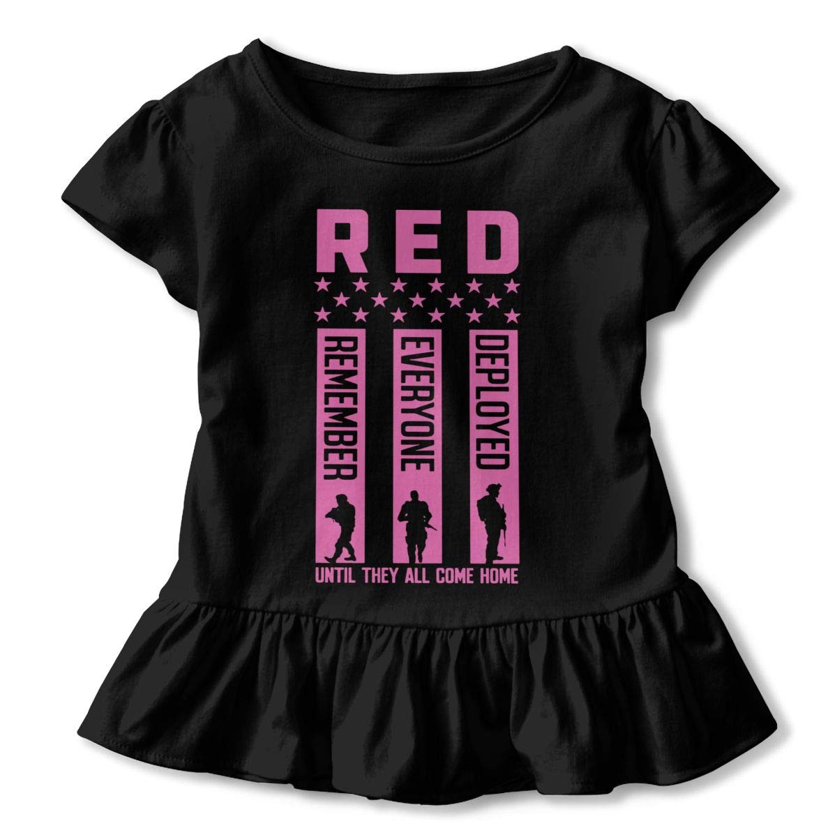 Red Friday Remember Everyone Deployed Baby Girls Short Sleeve Ruffles T-Shirt Tops 2-Pack Cotton Tee