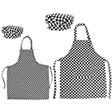 Opromo Colorful Cotton Canvas Kids Aprons and Hat Set, Party Favors(S-XXL)-Shepherd Check Family Set-M