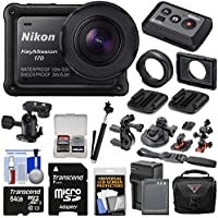 Nikon KeyMission 170 Wi-Fi Shock & Waterproof 4K Video Action Camera Camcorder + Remote + Mounts + 64GB Card + Battery/Charger + Case + Selfie Stick Kit