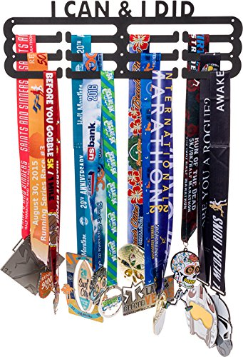 LISH I Can & I Did Medal Hanger Display - Runners Race Inspirational Marathon Medal Holder, Holds Up to 60+ Medals