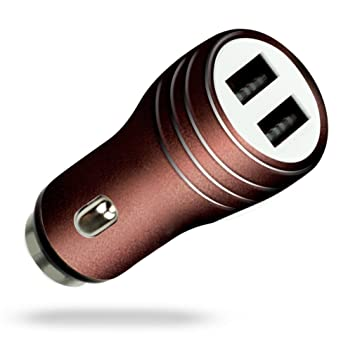 MyGadget Cargador de Coche Metálico Doble Puerto USB [2,1A/1A] para Móvil - Adaptador Automóvil para Samsung Galaxy Apple iPhone Tablet LG - Cafe