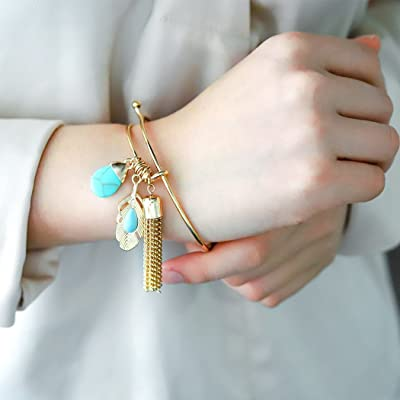 Jovono Bracelets with Turquoise Leave Tassel Bangle for Women and Girls