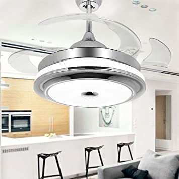 COLORLED Modern Fashion Retractable Blades Ceiling Fan With Light  42 Inch  Fan Chandelier For Indoor