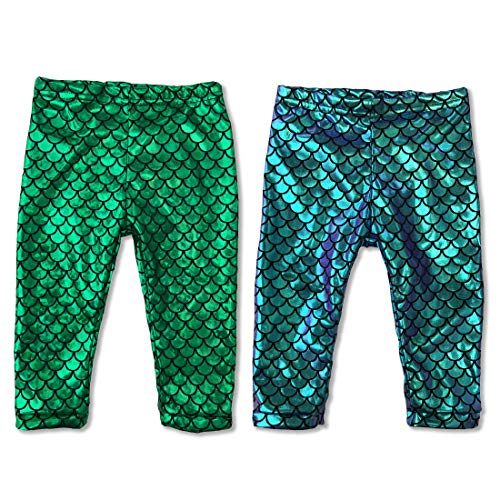 2 Pack Baby Girls Mermaid Legging Dragon Baby Costume Prop (2 Pairs Set Green & Purple Blue Hue, 6 Months)]()
