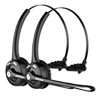 Mpow Pro (2-Pack) Truck Driver Bluetooth Headset/Office Headset, Wireless Over The Head Earpiece w/Mic, On-Ear Headset for Call Center, Skype, VoIP