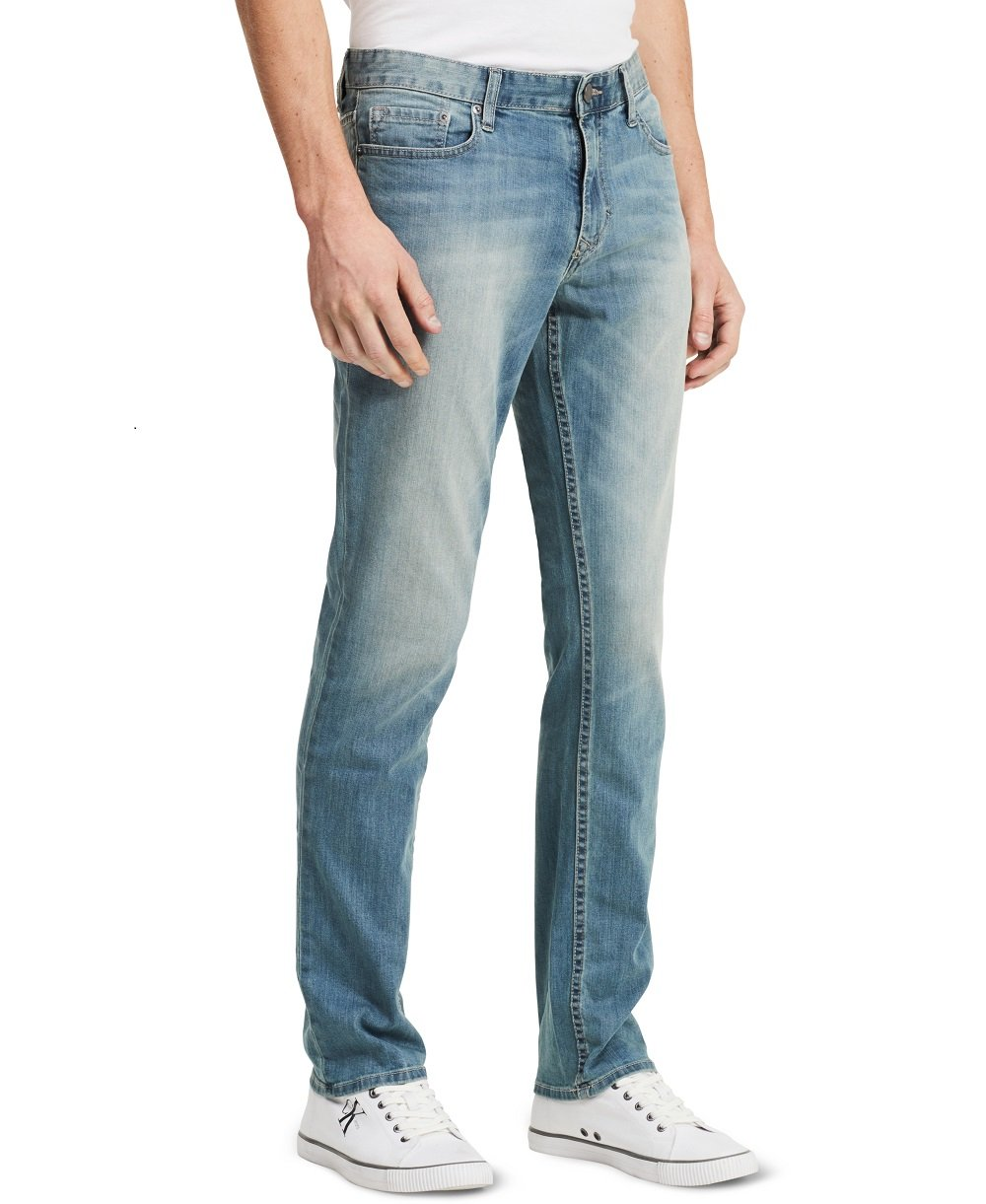 Calvin Klein Jeans Men's Slim Straight Leg Jean In Sliver Bullet, Silver Bullet, 32x30