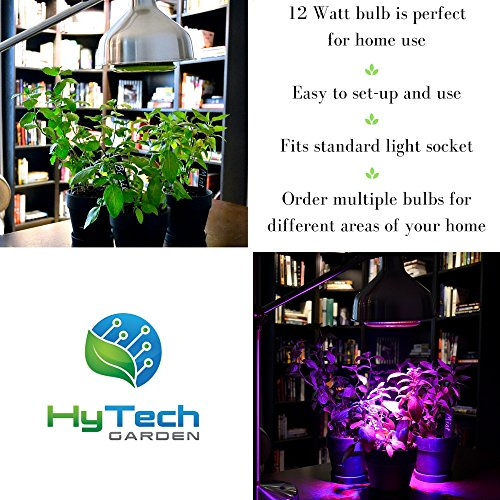 HyTech Garden LED Grow Light Bulb for Indoor Gardening, Hydroponics, Greenhouse Systems-Great for Growing Herbs, Succulents, Fruits, Vegetables, Seedlings and Houseplants, 12 W