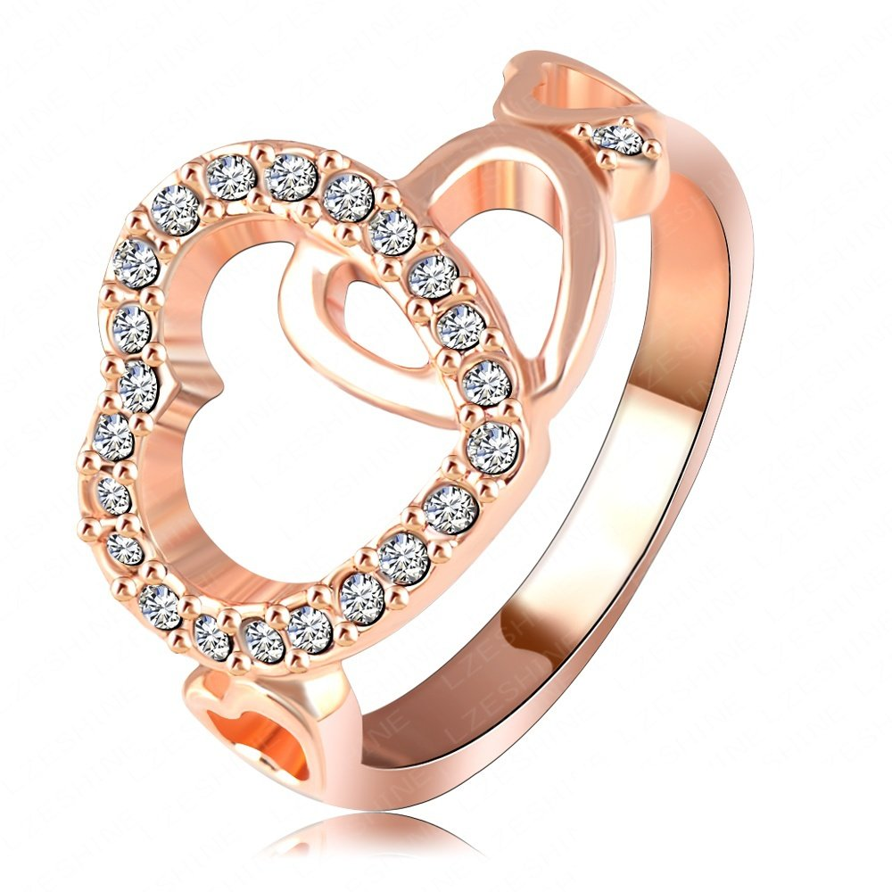 Evertrust (TM)Luxury Heart Shaped Ring Real 18K Rose Gold/Platinum Plated Pave Austria Crystal SWA Elements Cute Ring - Ri-HQ1078