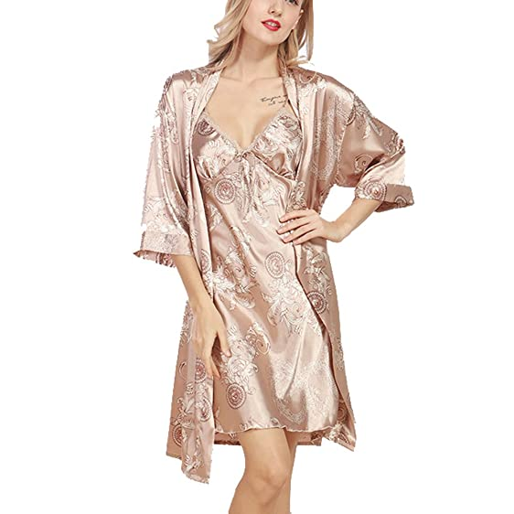 Amazon.com: Vantina Women Robe Gown Set Sleepwear Faux Silk ...