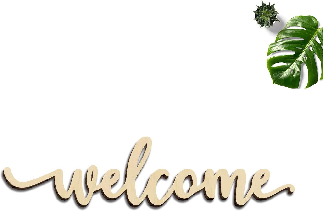 """Zhuper Wood Welcome Sign for Wreath Decor Wood Script Home Gallery Wall Sign Wall Art Unfinished Rustic Word Front Door Porch Entryway Decoration DIY Craft 12""""x2.8"""""""