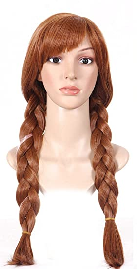 shoperama Frozen Anna Mujer Peluca marrón Adultos Frozen Wig Elsa Princesa Trenzas