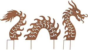 ART & ARTIFACT Dragon Garden Stakes Set - Three Piece Lawn Ornament, Yard Art Decor
