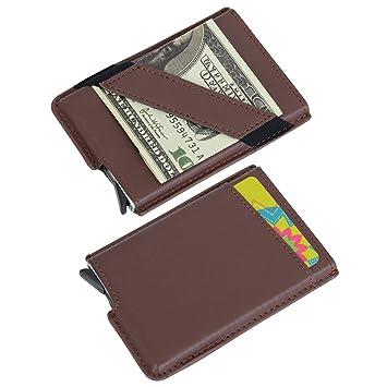 Tarjeteros Hombre Mujer Cuero Bloqueo RFID Tarjeteros para Tarjeta de Crédito Cartera de Aleación de Aluminio Multiuso Bolsillos Marrón: Amazon.es: Equipaje