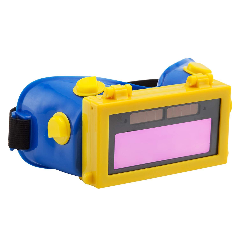Auto Darkening LCD Solar Welding Helmet Mask Goggles Welder Glasses Gas Flip Up Lens Eye Protection Blue+Yellow