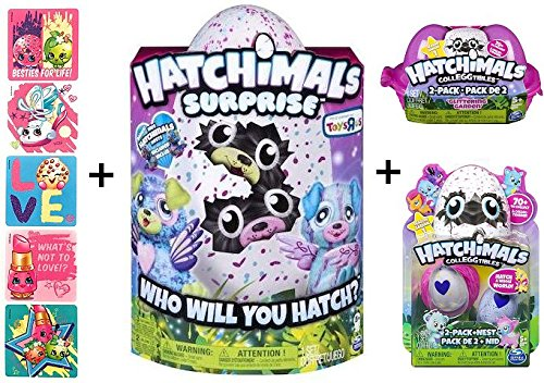 Hatchimals Surprise Twins Puppadee + BONUS CollEGGtible 2 Pack with Nest + Glittering Garden 2 Pack Egg Carton + 5 Shopkins Glitter Stickers! by Hatchimals