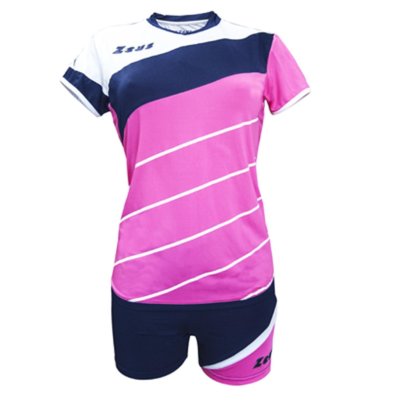 Zeus Kit Lybra Donna complementando Volley-Ball pour Les Femmes Sport pegashop Colour Fuchsia Fluo-Azul-Blanco