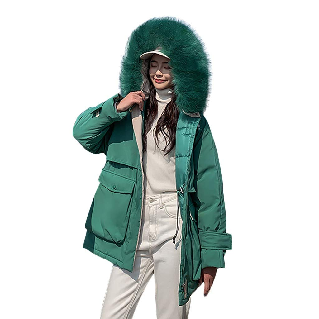 Fashionhe Windproof Overcoat Winter Warm Outerwear Hooded Jackets Cotton-Padded Pockets Bandage Coats(Green.XXL) by Fashionhe