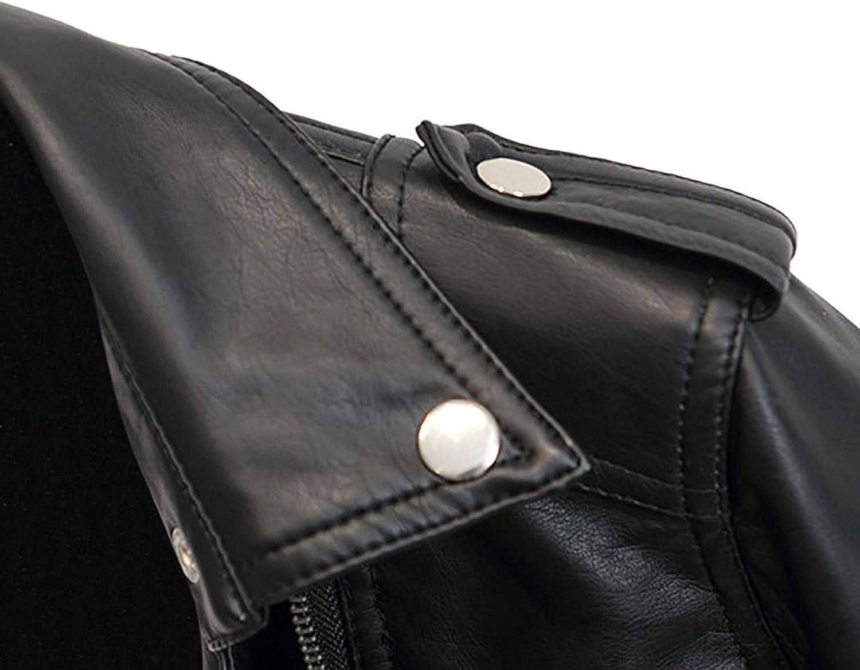 Donna Giubbino Pelle Eleganti Moda Festiva Casuali Accogliente Giacca in Similpelle Primaverile Ragazza Biker Jacket Manica Lunga Fashion Bolsillo con Cerniera A Cerniera Giubbino