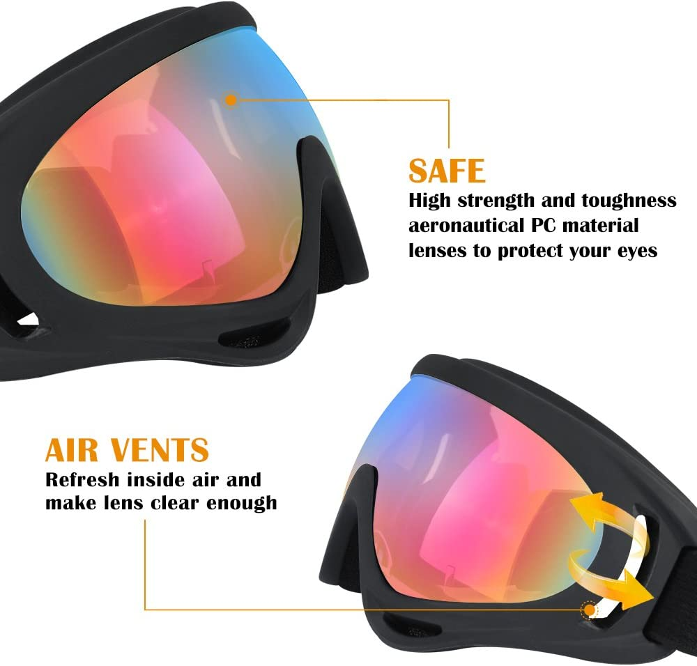Ski Goggles, 2 Pack Snowboard Goggles Skate Glasses, Motorcycle Cycling Goggles for Kids, Boys Girls, Youth, Men Women, with UV 400 Protection, Wind Resistance, Anti-Glare Lenses