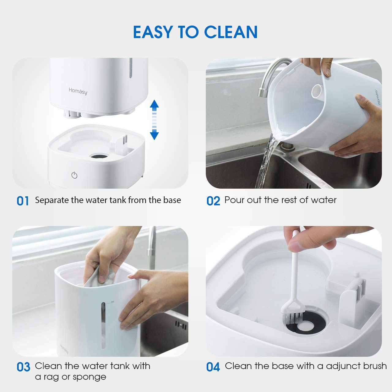 Homasy Cool Mist Humidifiers Ultrasonic Humidifier for Home Babies Bedroom,【Whisper-Quiet】 3 Mist Levels /& Sleep Mode【Essential Oil Nozzle】 Auto Shut-Off Easy to Clean /& Refill 4.5L//1.2 Gallon