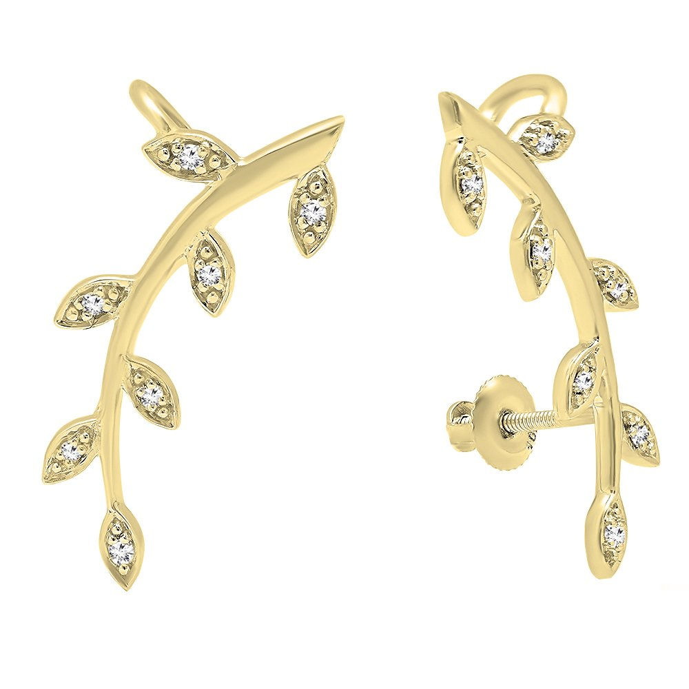 Dazzlingrock Collection 0.11 Carat (ctw) 10K Round Cut White Diamond Ladies leaf shaped Climber Earrings, Yellow Gold