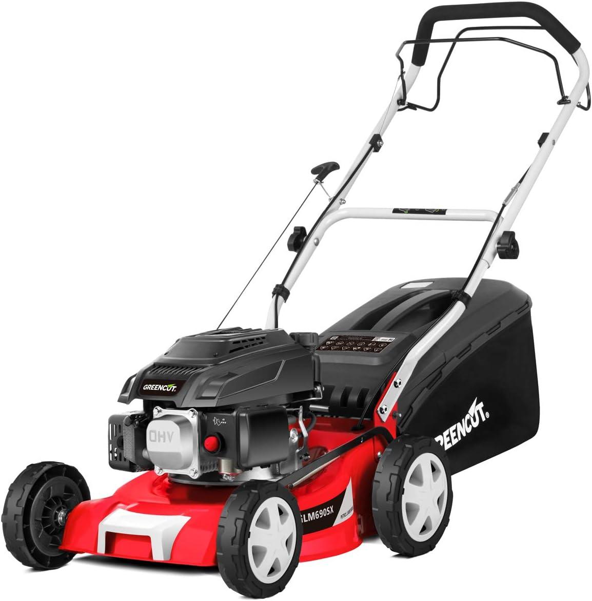 GREENCUT GLM690X - Cortacésped autopropulsado de gasolina 139cc y 5cv con arranque manual y ancho de corte de 407mm (16