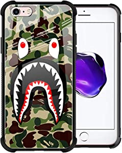 iPhone 6s Plus Case, Fashion Camo iPhone 6 Plus Case for Boys Men Cool Luxury 9H Tempered Glass Back Cover Slim Fit Shockproof TPU Bumper Protective Case for iPhone 6 Plus 5.8inch, Army Green Shark