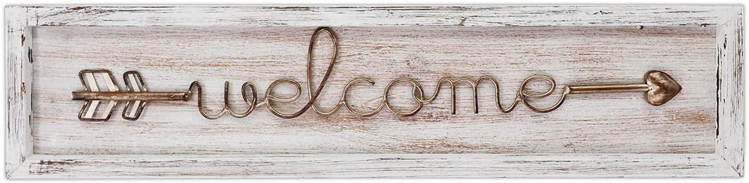 """MACVAD Horizontal Wood and Metal Welcome Sign with Arrow for Front Door,Home,Large Farmhouse Welcome Hanging Sign,Gift for Family,Distressed White 6.5"""" x 27"""" x 1"""""""