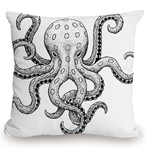 Ecru Print (Throw Pillow Cushion Cover,Octopus Decor,Sketch Style Print of Deadly Blue Ringed Octopus Camouflage Marine Animal Aquatic Decor,Ecru Black,Decorative Square Accent Pillow Case)