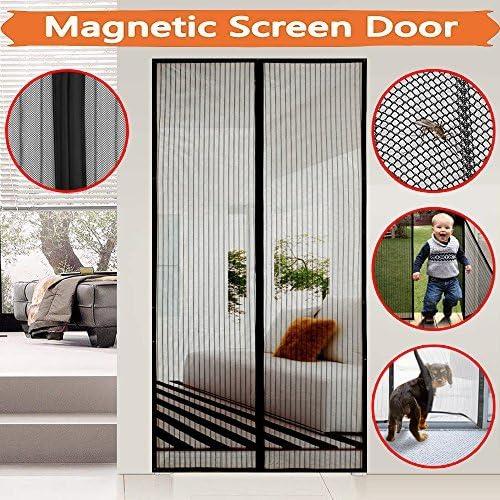 magnético Mosquitera para puerta protección contra insectos, meiso Mosquitera para puerta, Magnetic Screen Door, imán de la cortina es ideal para la puerta para balcón Salón, Puerta corredera, Magnetic Screen Door, cabe