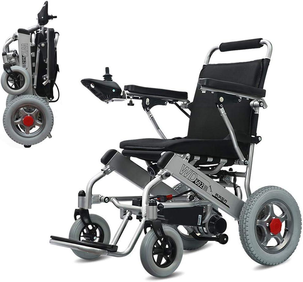 RDJM Silla de Ruedas eléctrica de Aluminio Plegable, para Personas Mayores y discapacitadas