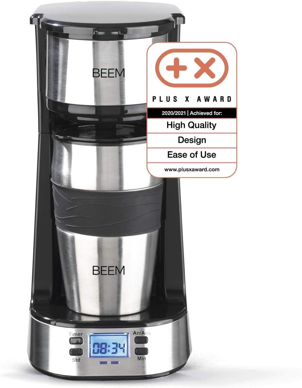 BEEM Thermo 2 Go - Cafetera de filtro individual (térmica, incluye vaso térmico de 0,4 l para llevar y filtro permanente, temporizador de 24 h, 750 W, ...