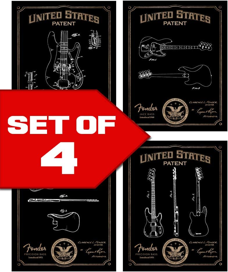 Wallables Classic Bass Guitar Patents Decor Set of Four 8x10 Vintage Fender Bass Guitar Themed Decorative Prints, Great for Bachelor pad, Office, Living Room.