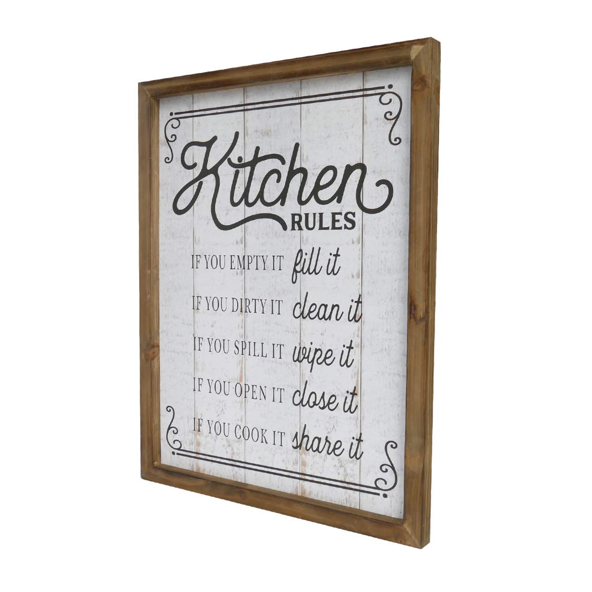 NIKKY HOME 18 x 14 Rustic Wood Framed Kitchen Rules Wall Plaque