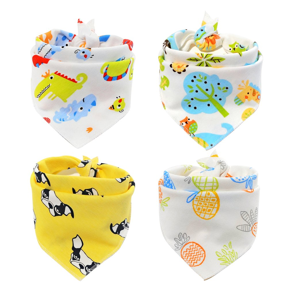 Scheppend Pet Bandana Triangle Bibs Cotton Neckerchirf Comfortable Scartfs for Small Medium Dogs and Cats, 4 Packs (Style1)