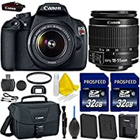 Canon EOS Rebel T5 18MP EF-S Digital SLR Camera Bundle + Canon EF-S 18-55mm IS Lens + 2pc High Speed 32GB Memory Cards + UV Filter + Extra Battery + Deluxe Canon Case + 9pc Accessory Kit Overview Review Image