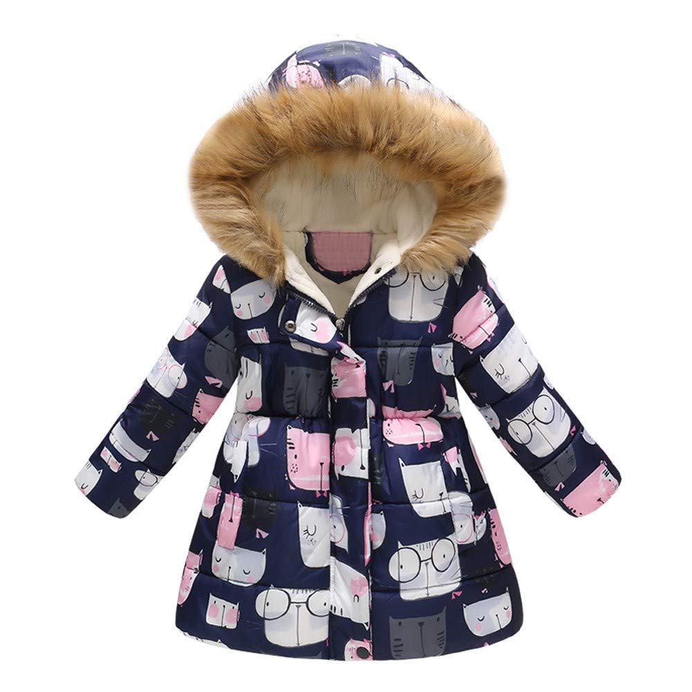 Cartoon Print Outerwear Snowsuit for Toddler Baby Boys Girls Winter Warm Hooded Windproof Jacket Coat (2-3Years, Navy) by sweetnice baby clothing