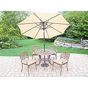 Oakland Living Corporation Dakota al aire libre 7 piezas Comedor con 9 ft Beige paraguas de bronce antiguo