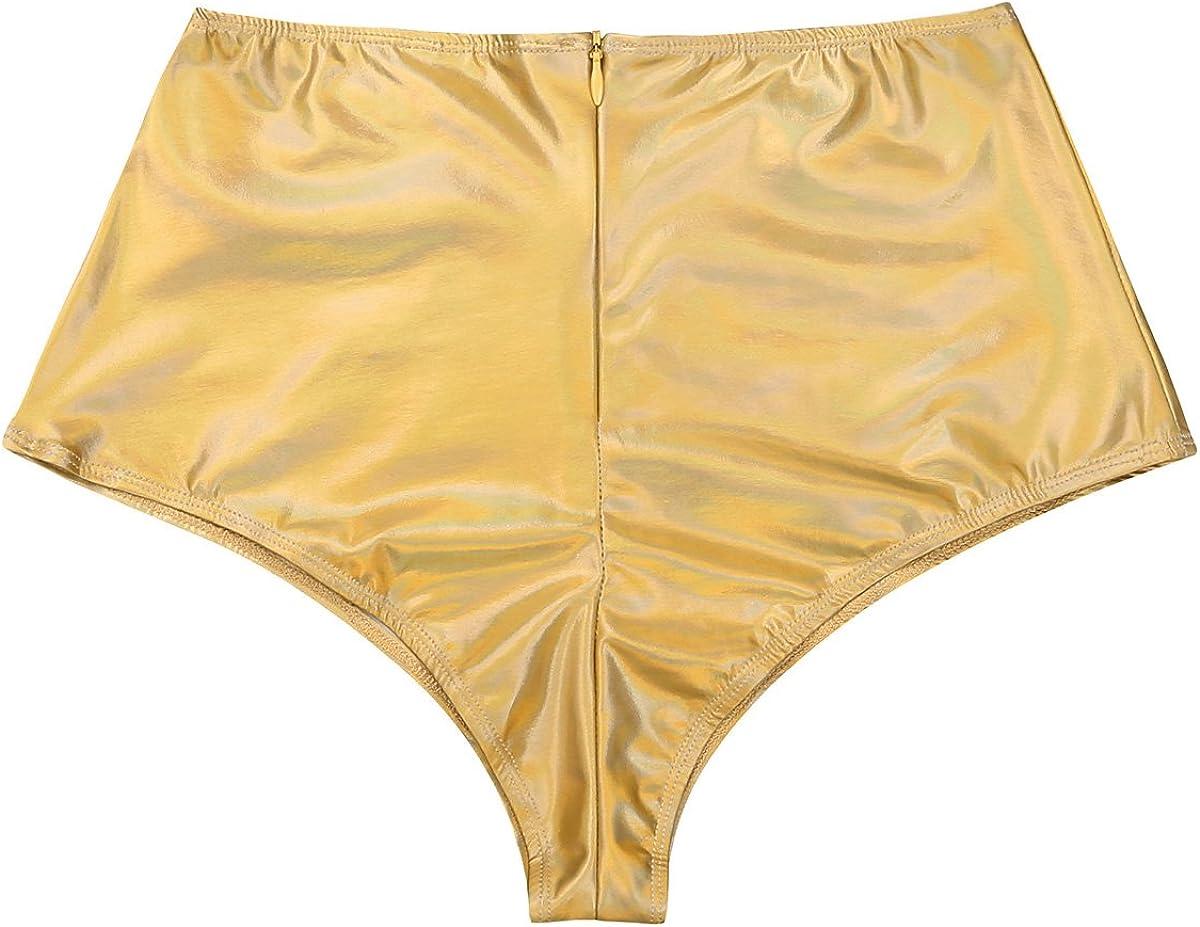 YOOJIA Womens Shiny Metallic High Waisted Booty Shorts Rave Dance Bottoms Back Zipper Underwear