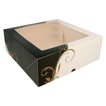 García de Pou 204.69 Cajas Pastelería con Ventana 275 G/M2, 18 x 18 x 7,5 cm, Set de 50, Blanco: Amazon.es: Industria, empresas y ciencia