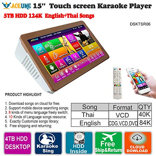 - 5TB HDD,124K English CDG,VCD,DVD Songs,Thai VCD Songs,Touch Screen Karaoke Machine/Song Player/Jukebox,Desktpp, Simplified,Portable,15.6'' Support Remote Controller,