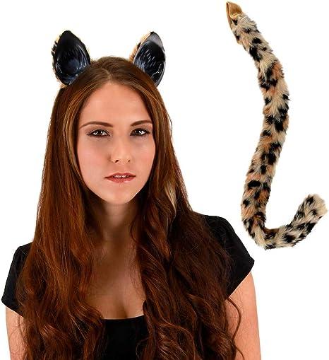 Gloves Feline Fantasy Leopard Tail Ears Fancy Dress Adult