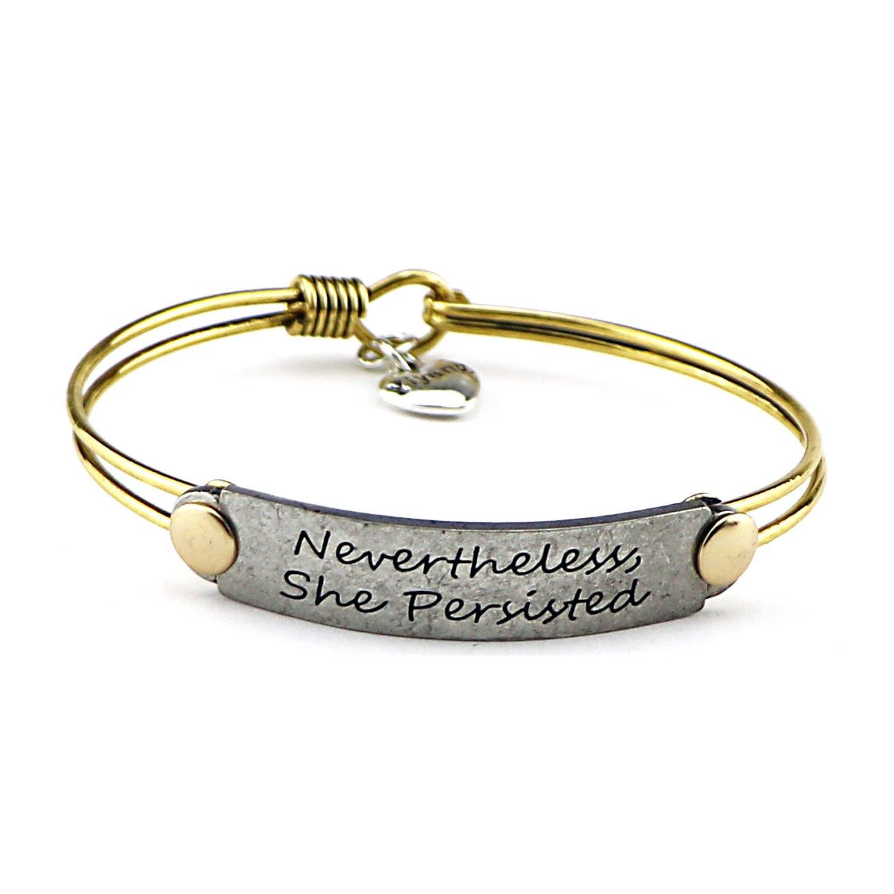 Yiyang Friendship Handmade Vintage Bangle Bracelet Inspirational Jewelry Gift Handmade Jewellery (Nevertheless she persisted)