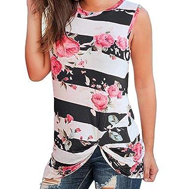 4614af5ec16d26 vermers Hot Sale Tank Tops for Women - Casual Stripe Floral Print  Sleeveless Vest Blouse T