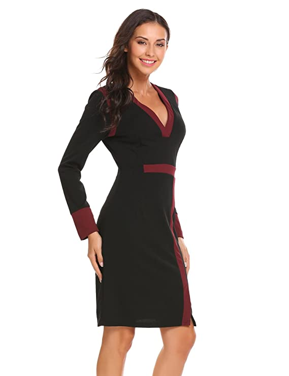 ANGVNS Womens V Neck Long Sleeve Cocktail Pencil Dress at Amazon Womens Clothing store:
